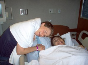 Before the birth, with Julie.