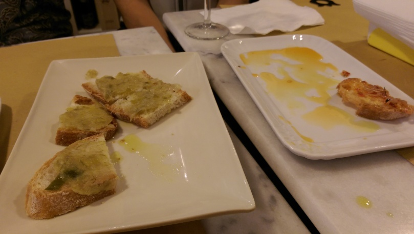 At the wine shop...I focused on the bruschetta.