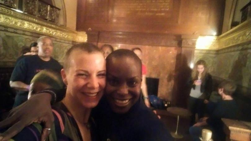 With Hope Boykin, Alvin Ailey dancer, at a pre-performane workshop at the Auditorium Theater.