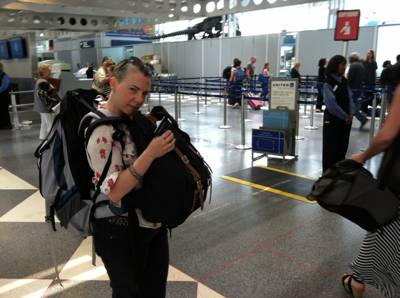 With heavy bags and a heavy heart, saying goodbye at the airport.