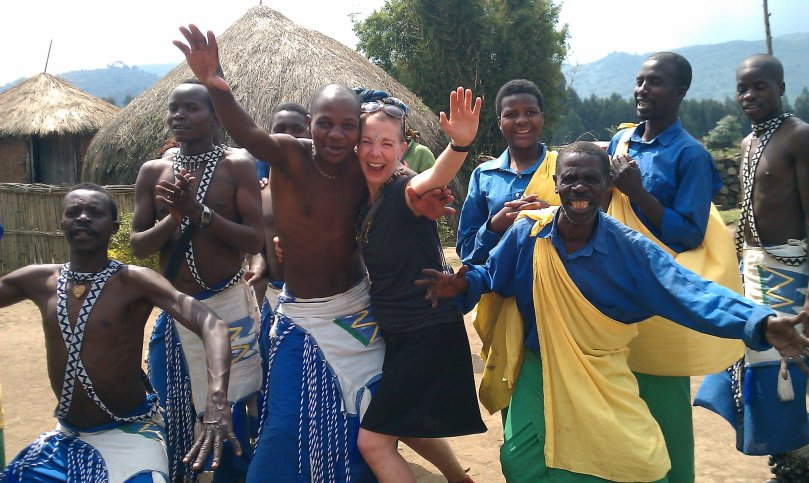 with dance friends in Africa